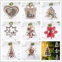Christmas Hanging Wooden Pendants Ornaments Kids Gift DIY Xmas Tree Decorations