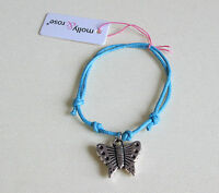 NEW Blue corded adjustabl bracelet with butterfly silver charm fashion jewellery