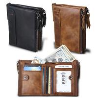 Portafoglio Uomo Moda RFID 100%Pelle Ultra Sottile Porta Carte di Credito Zipper