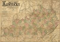 State map of Kentucky c1863 repro 36x24