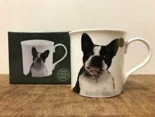 Fine China BLACK and WHITE FRENCH BULLDOG Mug Ideal Gift for Dog Lovers Boxed