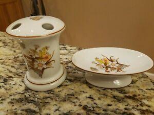 Vintage Soap Dish & Toothbrush Holder Butterflies Flowers Brown Peach Porcelain