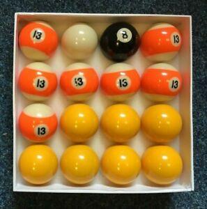 "2"" league Pool ball set ;7 yellow + 7 x no13 ball ,8 ball + 1 7/8"" cue ball"