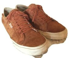 Vans Mens 12M Cognac Brown Suede Leather Sneakers Lace Up Athletic Shoes Comfort