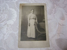 GRANDMA NEXT TO ANTIQUE WICKER CHAIR  PHOTO POSTCARD     T*