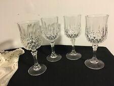 Set of 4 Heavy Crystal Cut Glass Wine Goblets/ Stemware