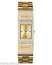 NEW GUESS GOLD,HORN RESIN ACRYLIC LOGO BEIGE ADJUST LINK BRACELET WATCH-U12633L2