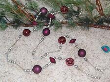 Set of 4 NWT 6' Wine PURPLE & SILVER Frost GLASS Bead Christmas GARLANDS