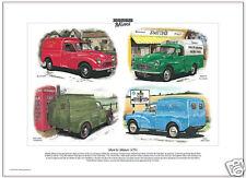 Morris Minor lcv's - Lámina Artística - Royal Mail RAC Oficina Correos VANS