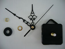 CLOCK MECHANISM QUARTZ  LONG SPINDLE 99mm BLACK  ORNATE HANDS