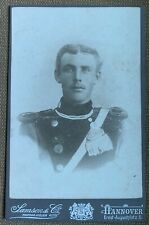 WWI German Photo 4x6.5inch, Prussian Cavalry NCO in Dress Uniform, Hanover 1890s