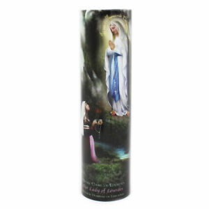 Our Lady of Lourdes Devotional Saint LED Flameless Prayer candle w/6 Hour Timer