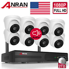 ANRAN 8CH CCTV 1080P Security Audio Camera System Wireless NVR Outdoor 1TB HDMI