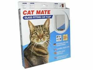 Cat Mate 4 Way Locking Glass Fitting cat Flap and Door Liner White 6 pack