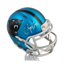 Christian McCaffrey Autographed Panthers Blaze Mini Football Helmet - BAS COA