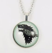 WINTER IS COMING NECKLACE game of thrones house of stark wolf GoT direwolf glass
