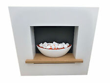 White Fire Surround Cube with Shelf Electric Fire Suite Set