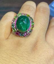 NATURAL EMERALD17X14 MULTI TOURMALINE RUBY DIAMOND CUT STERLING SILVER925 RING