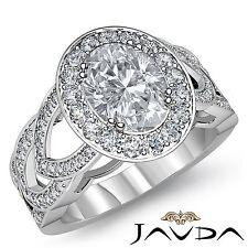 Oval Diamond Designer Engagement Halo Pave Set Ring GIA I VS2 Platinum 2.75ct