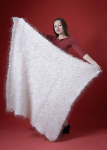 New RARE Russia white Shawl hand knitted natural longhair Goat Down 112cm square