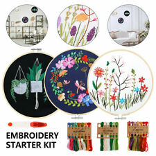 Pre-Printed Cross Stitch Kits Embroidery With Hoop Floral Pattern Beginners DIY