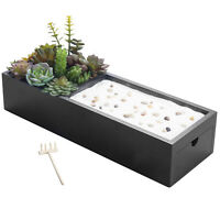 MyGift Zen Garden and Faux Succulent Plants with Black Wood Storage Drawer