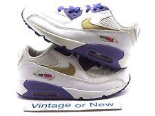 Girls Nike Air Max '90 White Metallic Gold Court Purple 345018-112 PS sz 3Y