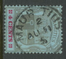 MAURITIUS 1897 4C coat of Arms with extremely rare perhaps UNIQUE POSTMARK-ERROR