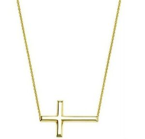 """14K Yellow Gold Sideways Cross Necklace  Adjustable Chain 16"""" to 18"""""""