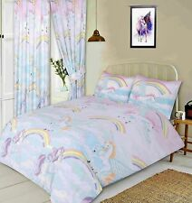 Double Bed Unicorns Duvet / Quilt Cover Set by My Home Novelty Rainbows Clouds