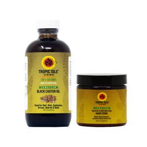 Tropic Isle Living Jamaican Black Castor Oil 4oz & Hair Food Combo w/Applicator