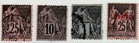 1880/1886 FRANCIA COLONIE 4 VAL. EMISSIONI COMMERCIO DI CUI UNO NUOVA CALEDONIA