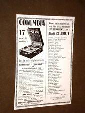 Pubblicità d'epoca dei primi del '900 Grafonola Columbia Graphophone