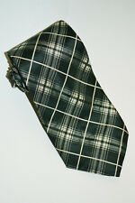 $235 Ralph Lauren Purple Label Green/Gray & Ivory Plaid Silk Taffeta Tie