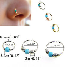 Stainless Steel Nose Ring Turquoise Nostril Hoop  Earring Piercing Jewelry