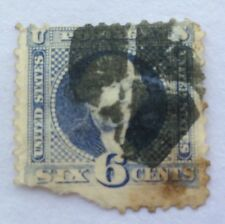 1869 USA Perf 6 cent blue Washington Stamp used with corner missing