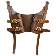 Dual Leather LARP Sword Brown back harness. Medieval, Cosplay, Rogue, Thief