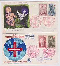 RR FRANCE  / 4 ENVELOPPES  /  FDC  1ER JOUR  /  CROIX ROUGE 1955 1956 1957 1961