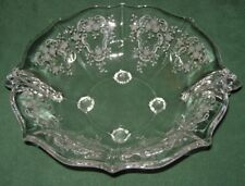Fostoria Meadow Rose Console Bowl Baroque Four Toed Handles Crystal Free Ship