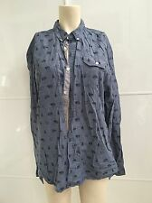 Free Nature  Shirt blue with Bear  Pattern Size HL