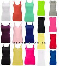 WOMEN PLAIN BRIGHT STRETCHY LADIES RIBBED VEST TOP T SHIRT STRAP PLUS SIZES 8-28