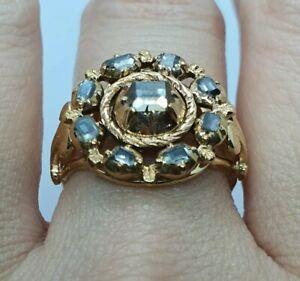 Antique Georgian 1.2 CT Diamond Table Cut  Gold 18k ring - VERY RARE