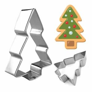 3pcs Molds Cookies Cutters Stainless Steel Tree Bell Santa Forms Fondant Makers