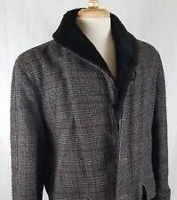 Vtg Woolrich Overcoat Coat Mens Sz 40 Tweed Plaid Winter Pile Lined Fur Collar