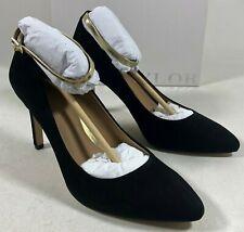 Ann Taylor Vivian Black Leather Suede Ankle Strap Shoes Pumps Heels Women's 7.5M