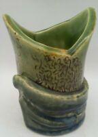 MCM Brutalist Pottery Bud Vase Art Green Mid Century Modern Vintage Planter RARE