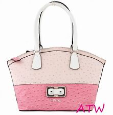 NWT GUESS VACHELLE OSTRICH EMBOSSED ZIP TOP DOME SATCHEL SHOULDER BAG PINK GLOSS
