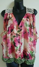 Fig and Flower top Sleeveless floral lace Blouse button front Small S