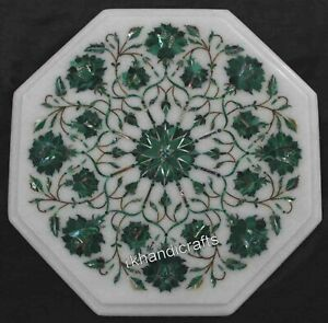 Malachite Stone Marquetry Art Coffee Table Top Marble Bed Side Table 15 Inches