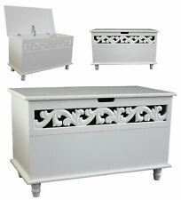 Deuba Trunk Chest Storage Wooden Lid White Home Furniture Organiser Carved Decor MDF